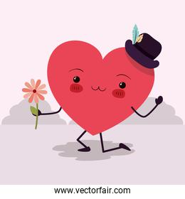 Happy valentines heart cartoon vector design