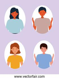 Set of people avatars vector design