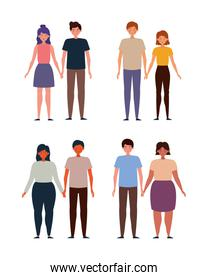 Couples set of woman and man vector design