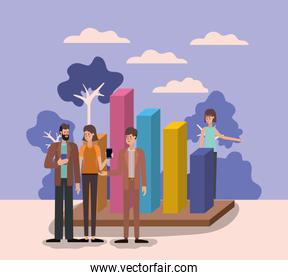 Workflow and people vector design