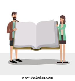 Woman man and elearning concept vector design