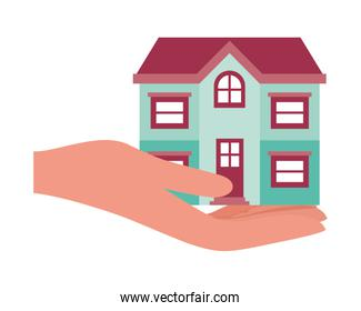 House building and hand isolated icon