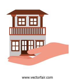 House building and hand vector design