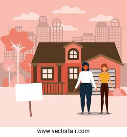 Couple and house building vector design