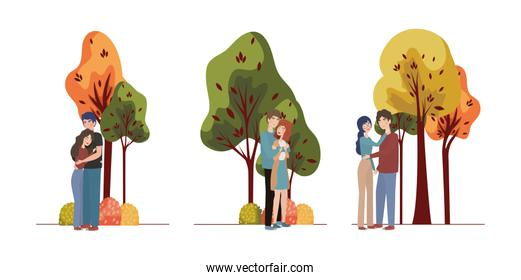 Couples of woman and man drawing vector design