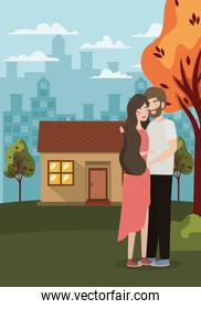 Couple of woman and man drawing vector design