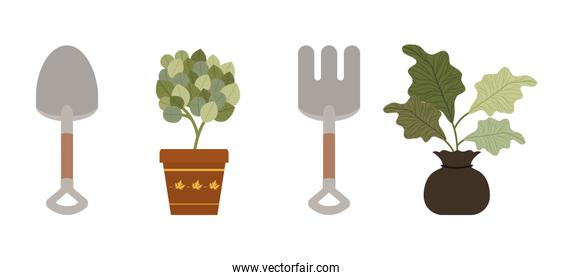 Plants tools and gardening concept vector design
