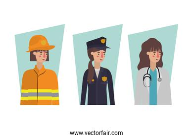 Isolated firefighter policewoman and doctor vector design