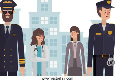 Professional avatars people at the city vector design
