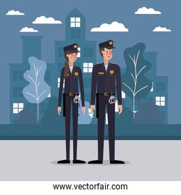 Policeman and policewoman at the city vector design