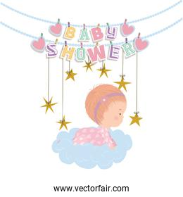 Baby shower invitation and baby girl vector design