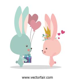 Cute rabbits cartoons with gift vector design