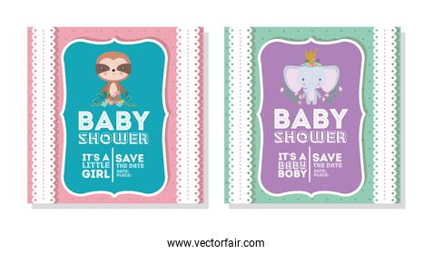 Baby shower invitation with elephant and sloth cartoon vector design