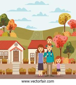 Mother father daughter son houses and trees vector design