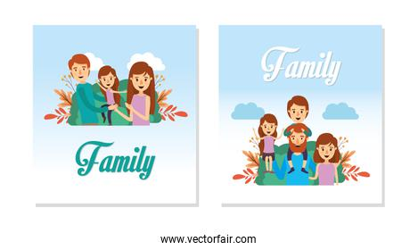 Mother father daughter and son vector design