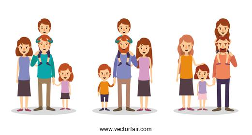 Set of mothers fathers and kids vector design