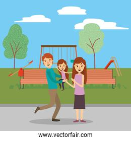Mother father and daughter in the park vector design