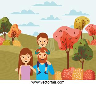Mother father son and trees vector illustration