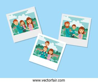 Mother father daughter and son inside pictures vector design