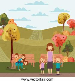 Mother father daughter son bench and trees vector design