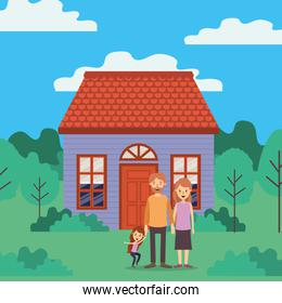 Mother father daughter and house vector design