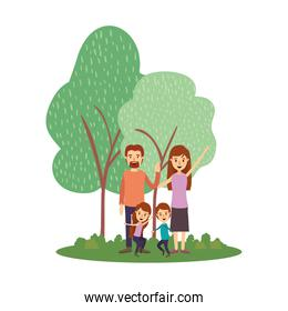 Mother father daughter son and trees vector design