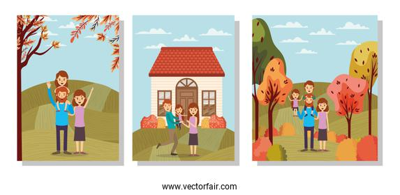Mother father daughter son house and trees vector design