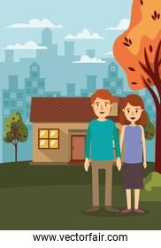 Couple of woman and man house and trees vector design
