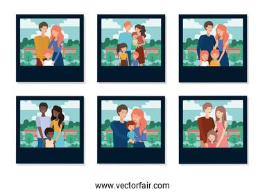 Set of mother father and kids inside pictures vector design