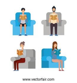Isolated seated people avatars with education books vector design