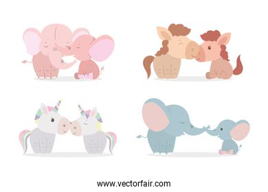 Elephants horses and unicorns mothers and cubs vector design