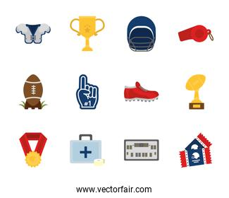American football icon set vector design