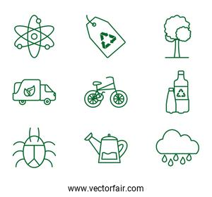 Isolated ecology and recycle icon set vector design