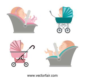 Set of cute babies inside strollers vector design