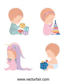 Set of cute babies with toys vector design
