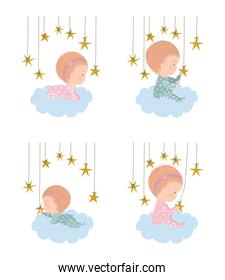Set of cute babies over clouds vector design