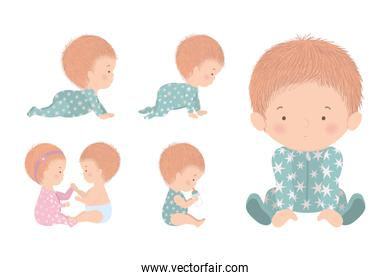 Set of cute babies vector design