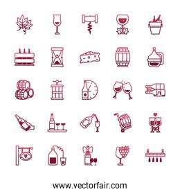 Isolated wine icon set vector design