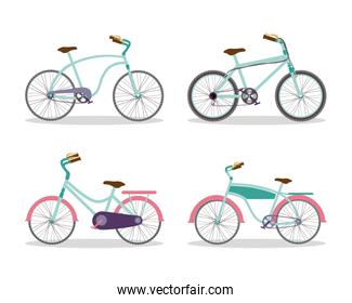 Isolated blue and pink bikes set vector design