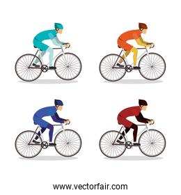 Men riding bikes set vector design