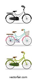 grey blue with pink and green bikes set vector design