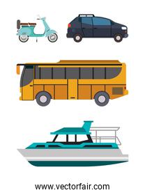 Motorcycle car bus and boat vehicles vector design