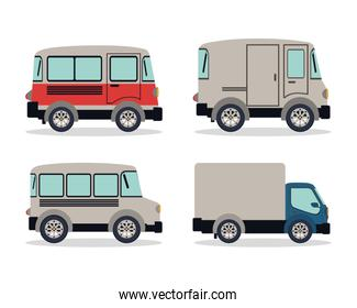 Camping trailer and truck vehicles vector design