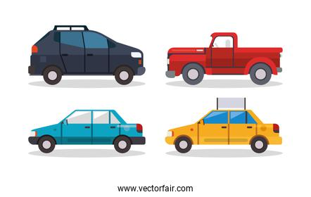 Car pickup and taxi vehicles vector design