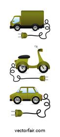 Eco green truck motorcycle and car vehicles with plug vector design