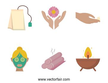 Isolated spa center icon set vector design