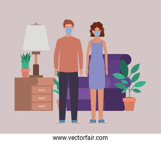 Man and woman with masks in living room vector design