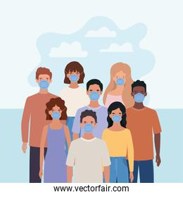 Men and women with masks and clouds vector illustration