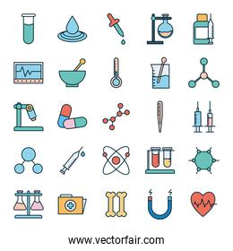 Science line and fill style icon set vector design