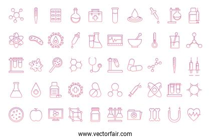 Science gradient style icon set vector design